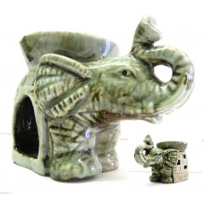 ELEFANTE PORTAFORTUNA BRUCIA ESSENZE IN CERAMICA ARTIGIANALE GREEN NATURE
