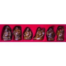 SET DI 6 SPLENDIDI BROWN BUDDHA EFFETTO LEGNO in Resina PORTAFORTUNA