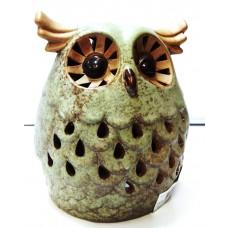 Porta candela Ceramica tea light decorato Gufo Portacandela da 18 cm