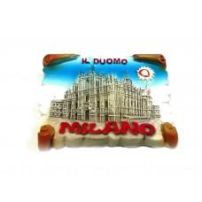 Calamita Magnete Souvenir from italy in Resina Milano SHINING DUOMO SCROLL