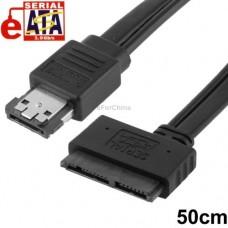 """CAVO ESATA + USB(POWER eSATA) - 7+9 (MICRO SATA 16PIN) PER SSD O HDD DA 1,8"""" 50cm"""