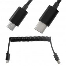Cavo SPIRALE SPIRALATO Adattatore USB TYPE-C 3.1 M A MICRO USB