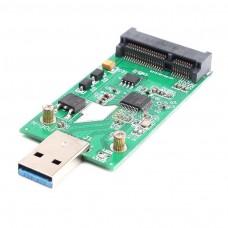 Adattatore convertitore esterno caddy sata  USB 3.0 per Mini PCIe SSD mSATA