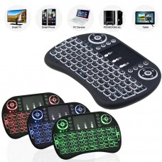 "MINI TASTIERA RETROILLUMINATA I8  WIRELESS TOUCHPAD SMART TV BOX ANDROID ""COMMANDER"" TRIO LIGHT"