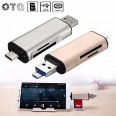 USB 3.0 + MICRO USB + USB TYPE-C 3.1 A CARD TF+ SD READER ALLUMINIUM TRILEX