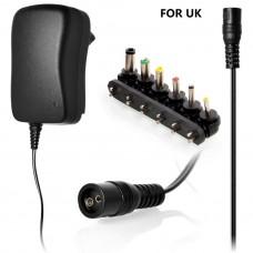 ALIMENTATORE MULTIUSO 30W DA 3V A 12V SELEZIONABILI E USB VERSIONE PRESA UK
