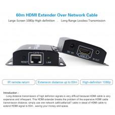 HDMI EXTENDER VIA Cavo LAN CAT6 CON IR HDMI 3D 1080P 60M