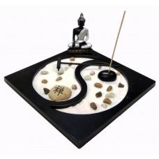 Giardino ZEN da Tavolo Statua Buddha Portacandelina Bruciatore per Incenso Decorazione Asiatica e Ambiente