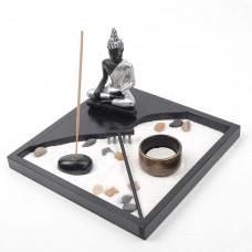 Giardino Zen  Buddha Meditazione Portacandela Bruciatore per Incenso Decorazione Rettangolare