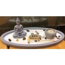 GIARDINO ZEN Buddha Statua Ornamento Meditazione Portacandela Soprammobile Decorazione Ambiente Asiatica