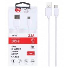 CAVO USB TYPE-C BIANCO 2.1 A 3MT IN TPE AD ALTO SPESSORE