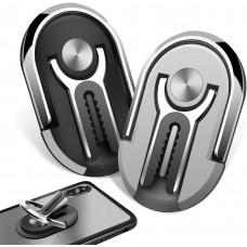 Porta Cellulare 2in1 anello Dito+Auto,Adesivo Smartphone Supporto Universale (Nero o Argento)