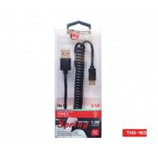 CAVO TPE USB TYPE-C TIPO C 2.1A SPIRALATO 1,5Mt CARICA E DATI