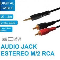 CAVO AUDIO ADATTATORE JACK AUX TO RCA 1,5MT