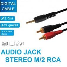 CAVO AUDIO ADATTATORE JACK AUX TO RCA 3.0MT