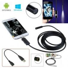ENDOSCOPIO USB ANDROID E PC OTG TELECAMERA ISPEZIONE FLESSIBILE LED 2 METRI