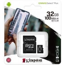 SCHEDA MICRO SD CON ADATTATORE SD KINGSTON 32 GB CL10 CANVAS SELECT PLUS