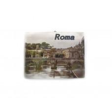 Maiolica Souvenir Italia  Roma 17 5x13.5 con Gancio parete e staffa per Tavolo